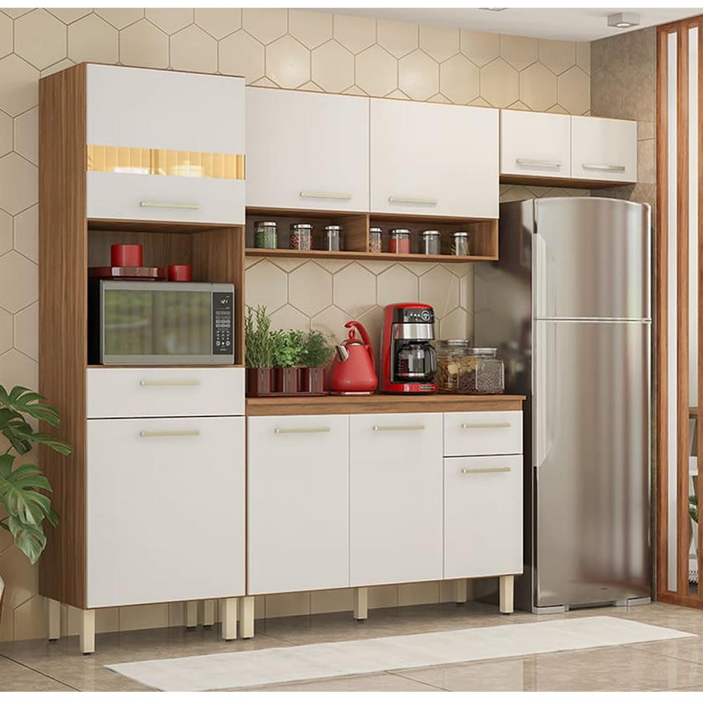 Cozinha Compacta 4 Peças Dama Amêndoa Branco Demóbile