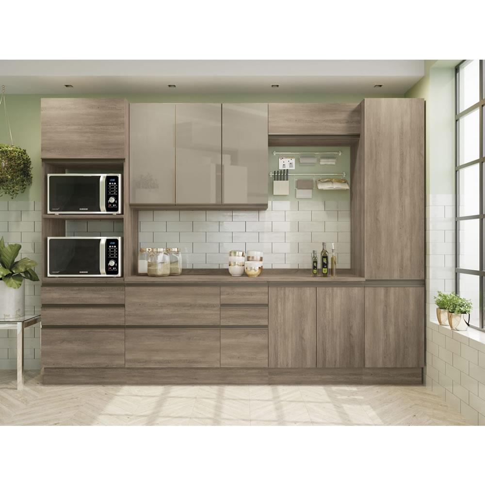 Cozinha modulada com aéreo de 3 portas com vidro Maxxi 6 Peças Nogal