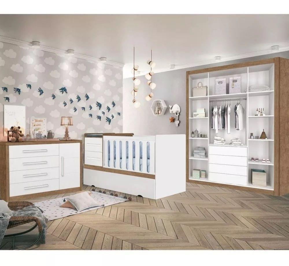 Dormitório Afetto com Berço Premium New - Amêndoa/Acetinado - Planet Baby