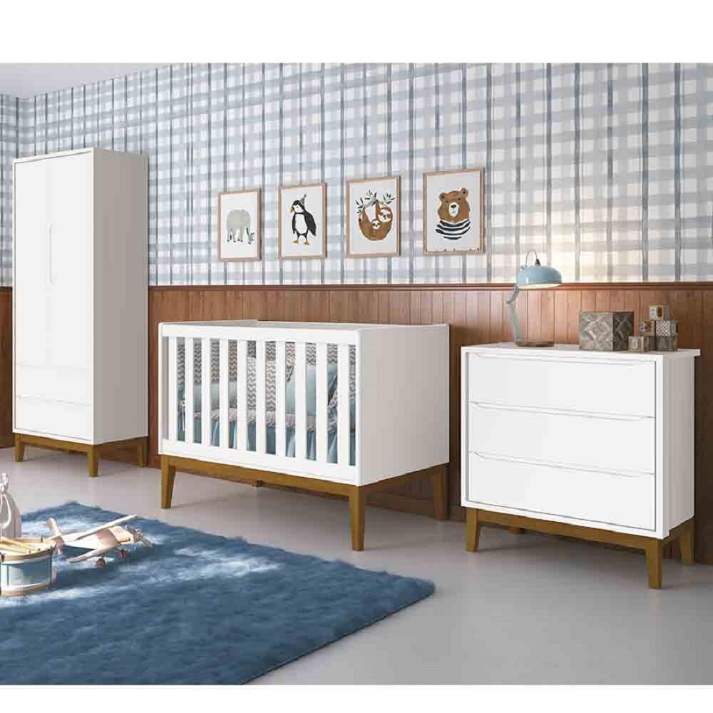 Dormitório Completo Infantil Com  Guarda Roupa 2 Portas, Cômoda Gaveteiro e Berço padão Americano Classic Branco Fosco - Reller