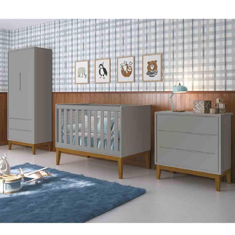 Dormitório Completo Infantil Com  Guarda Roupa 2 Portas, Cômoda Gaveteiro e Berço Padrão Americano Classic Cinza Fosco - Reller
