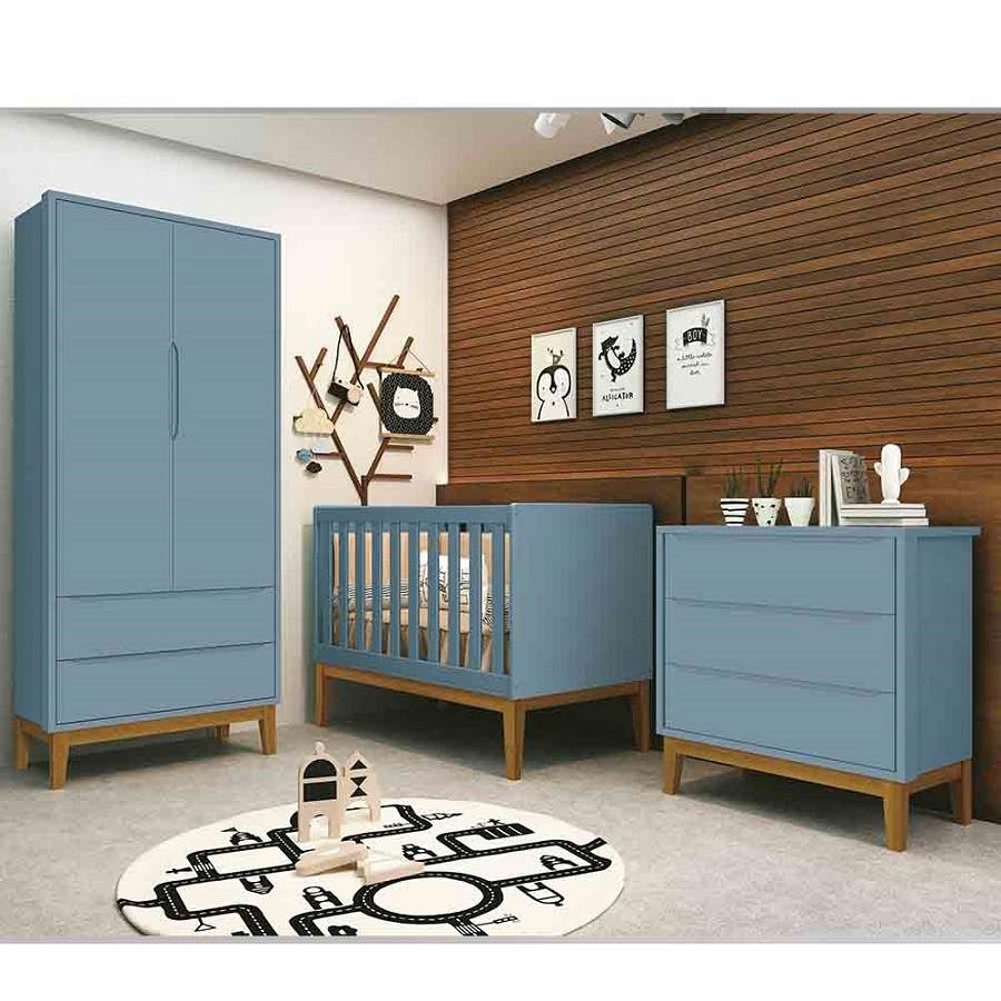 Dormitório Completo Infantil Com  Guarda Roupa 2 Portas, Cômoda Gaveteiro e Berço Padrão Americano Classic Azul Fosco - Reller