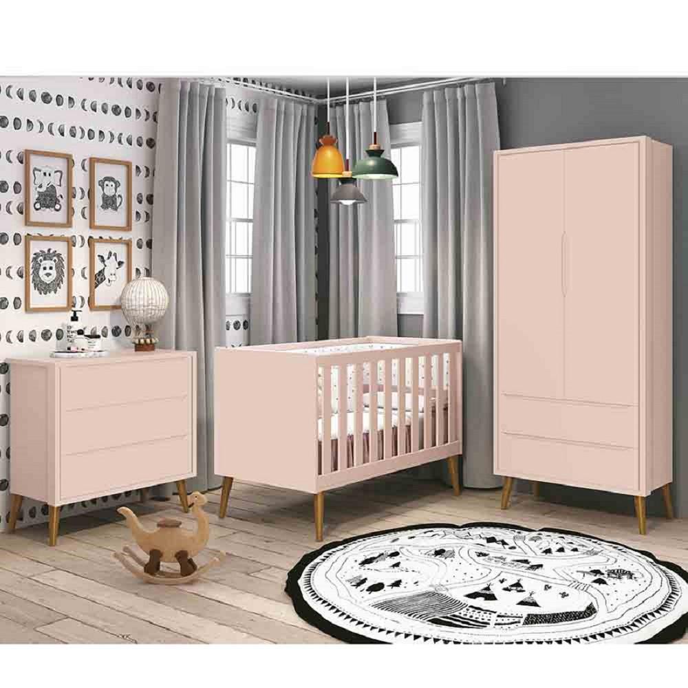 Dormitório Completo Infantil Com  Guarda Roupa 2 Portas, Cômoda Gaveteiro e Berço Padrão Americano Classic Rosa Fosco - Reller