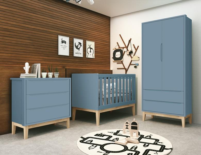 Dormitório Infantil Com  Guarda Roupa 2 Portas, Cômoda Gaveteiro e Berço Pés Madeira Natural Classic Azul - Reller