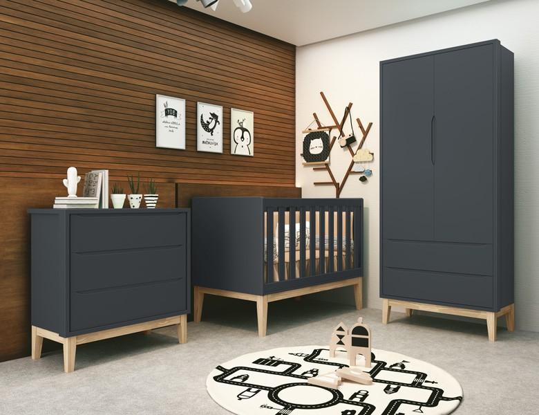 Dormitório  Infantil Com  Guarda Roupa 2 Portas, Cômoda Gaveteiro e Berço Pés Madeira Natural Classic Grafite - Reller