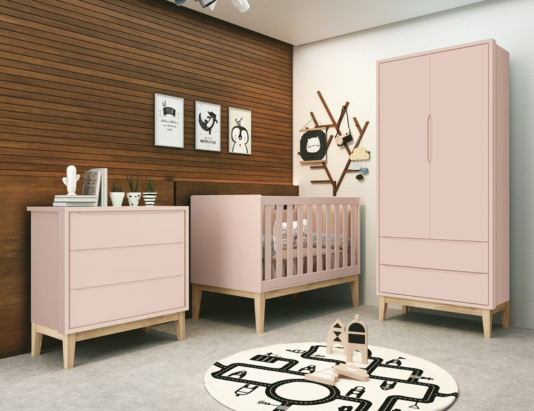 Dormitório Completo Infantil Com  Guarda Roupa 2 Portas, Cômoda Gaveteiro e Berço Padrão Americano Pés Madeira Natural Classic Rosa Fosco - Reller