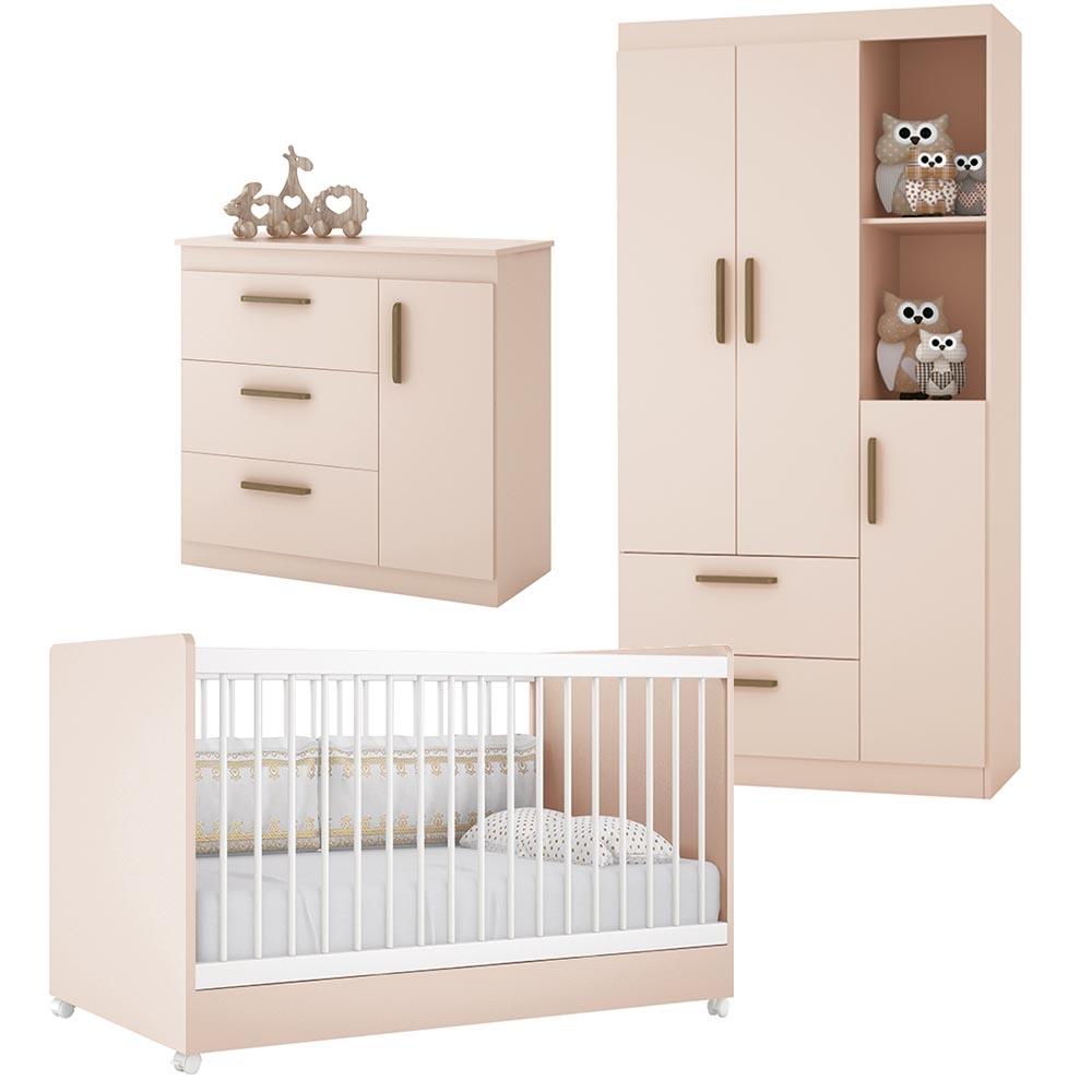Dormitório Floc Infantil com Guarda Roupa 3 Portas , Berço e Cômoda - Rosa - EM Moveis