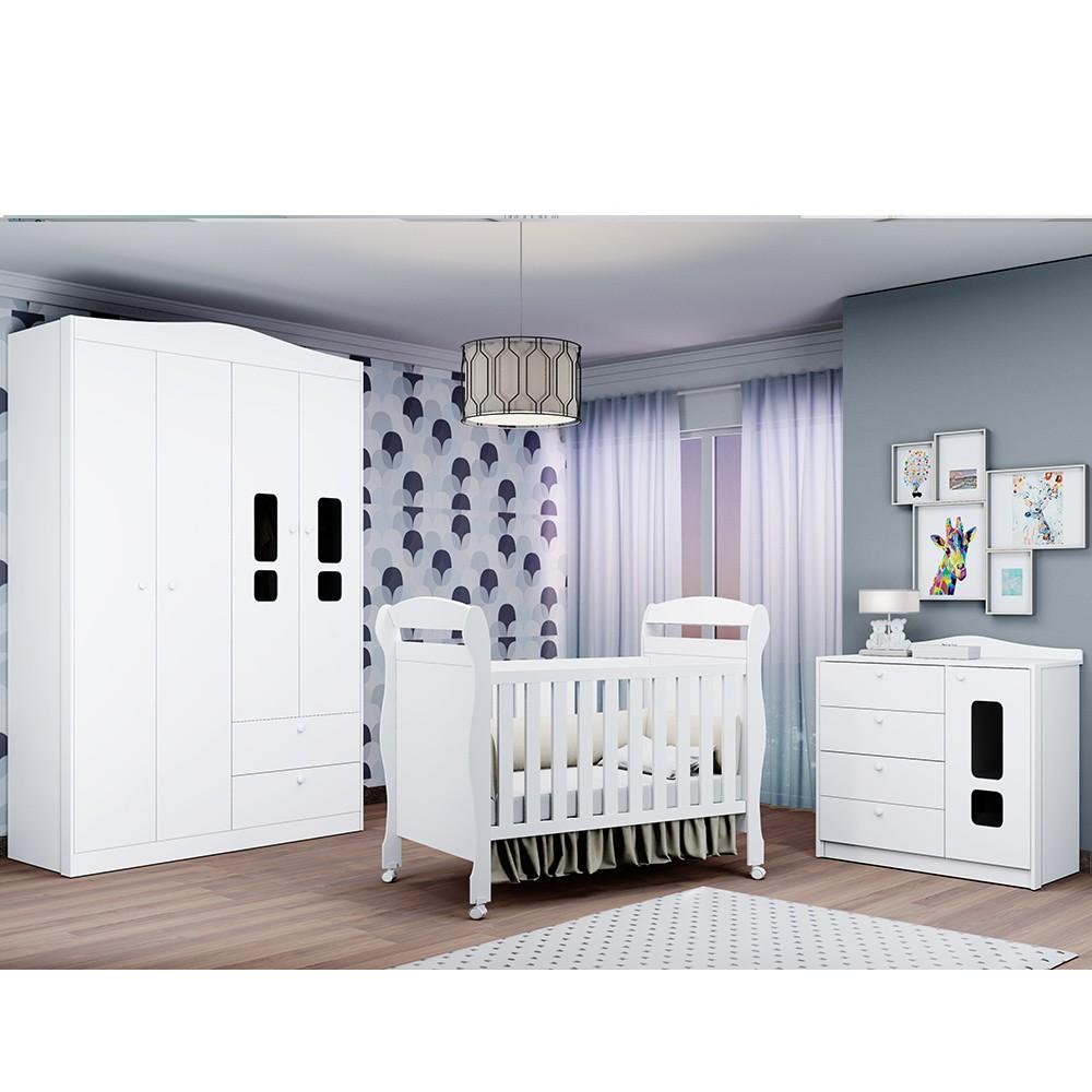 Dormitório Helena Com Guarda Roupa 3 Portas + Cômoda + Berço Mini Cama - Reller