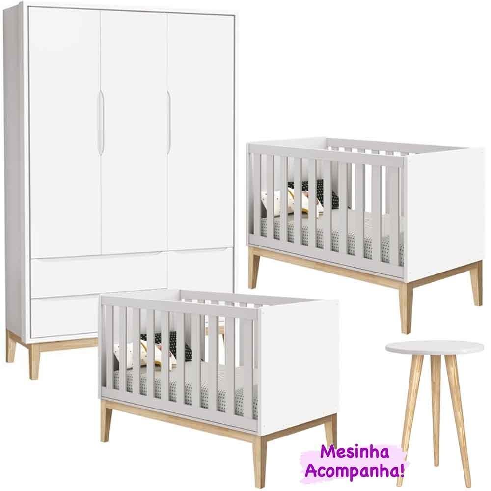 Dormitório Infantil Com Guarda Roupa 3 Portas + 2 Berço Theo Classic Branco Kit Gêmeos - Reller