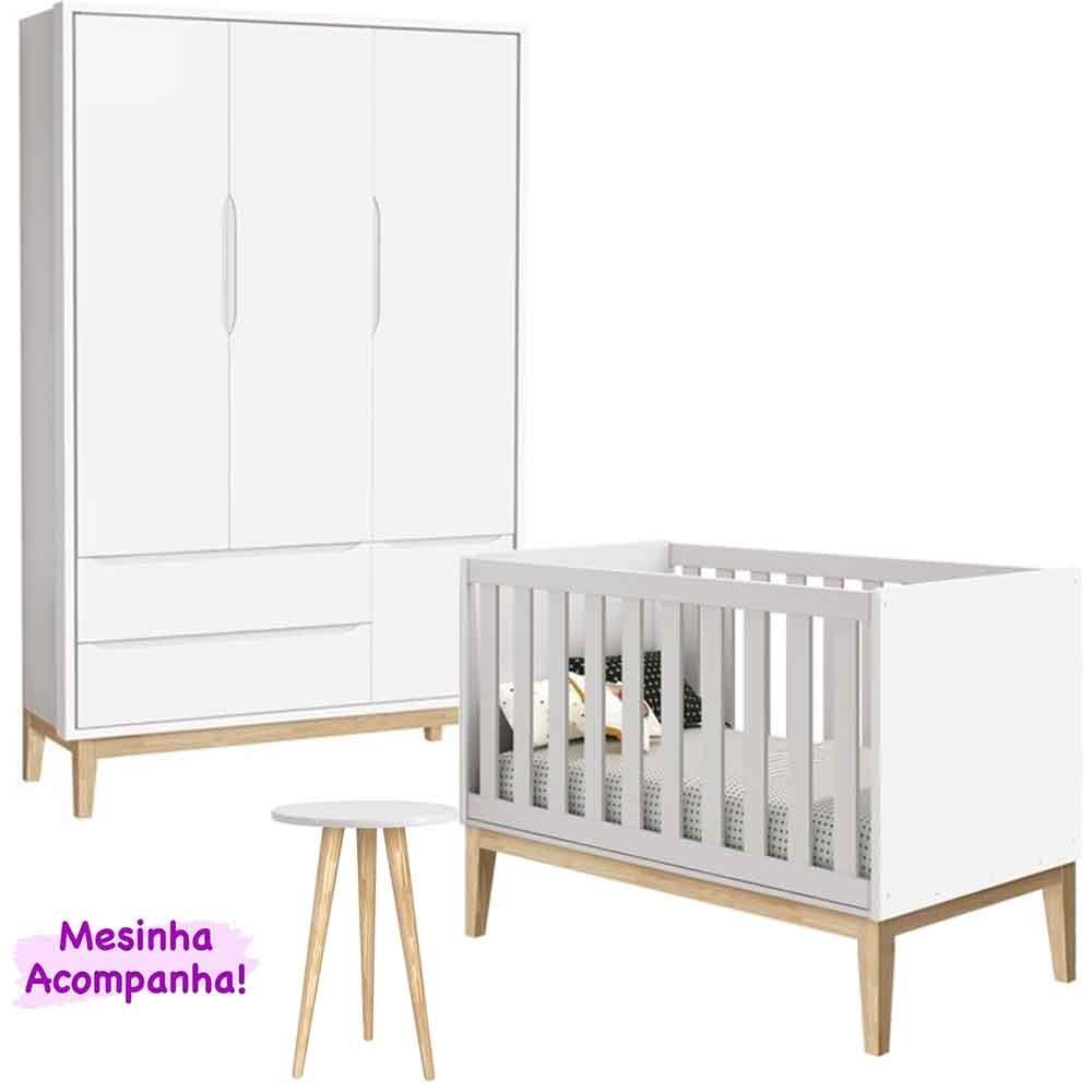 Dormitório Infantil Com Guarda Roupa 3 Portas + Berço Theo Classic Branco - Reller Móveis