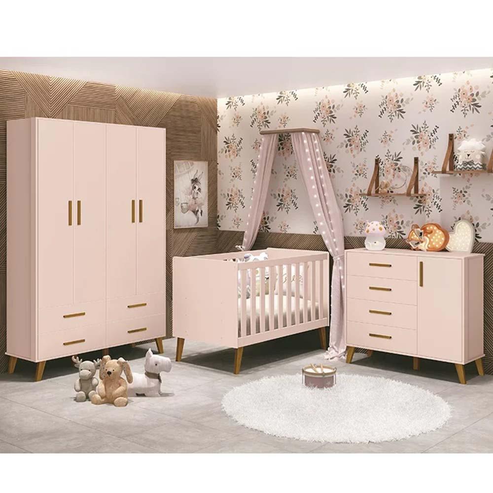 Dormitório Infantil com Guarda Roupa 3 Portas, Berço e Cômoda Retrô Ayla Rosa Fosco - Reller