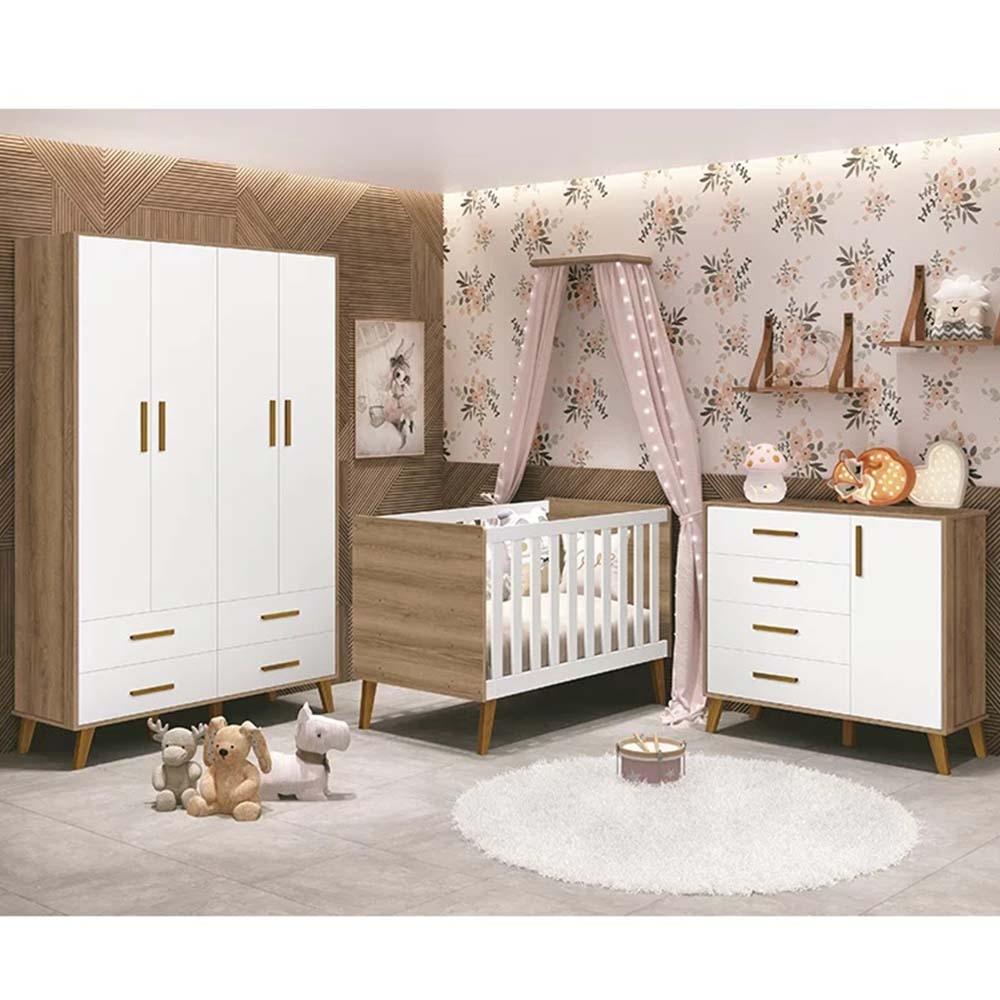 Dormitório Infantil com Guarda Roupa, Berço e Cômoda Retrô Ayla Branco Mezzo Fosco - Reller Móveis