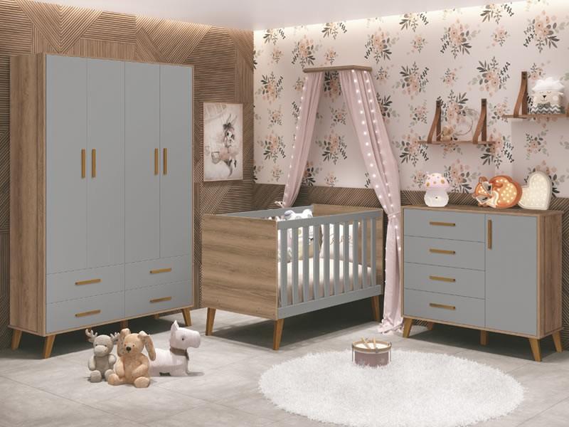 Dormitório Infantil com Guarda Roupa, Berço e Cômoda Retrô Ayla Cinza Mezzo Fosco - Reller