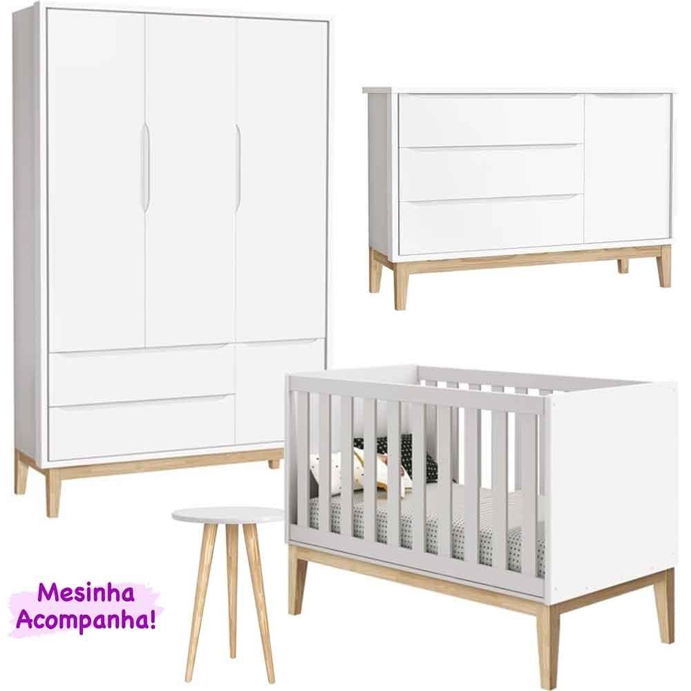 Dormitório Infantil Completo Com Guarda Roupa 3 Portas, Cômoda e Berço Theo Classic Branco - Reller Móveis