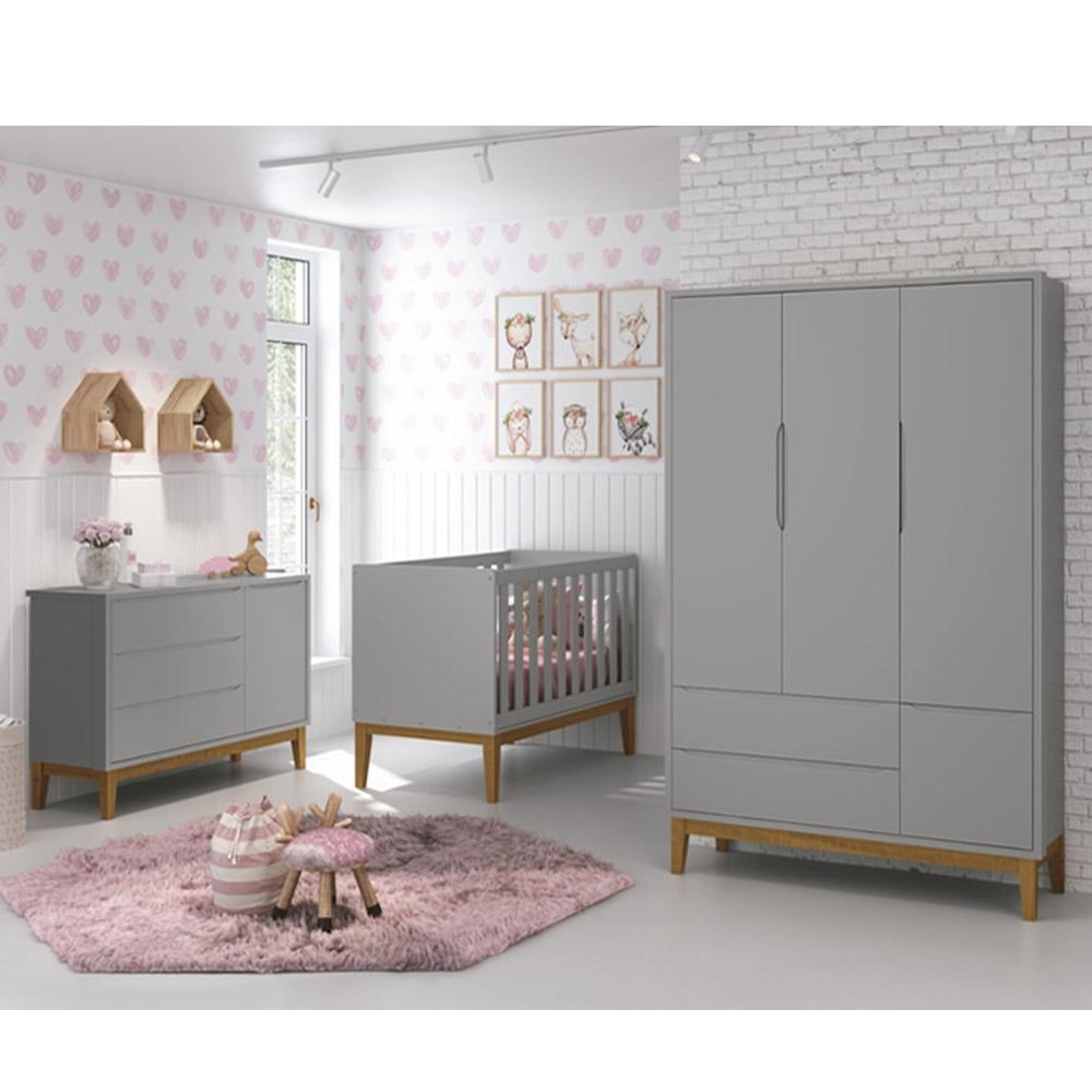 Dormitório Infantil Completo Com Guarda Roupa 3 Portas, Cômoda e Berço Classic Cinza - Reller Móveis