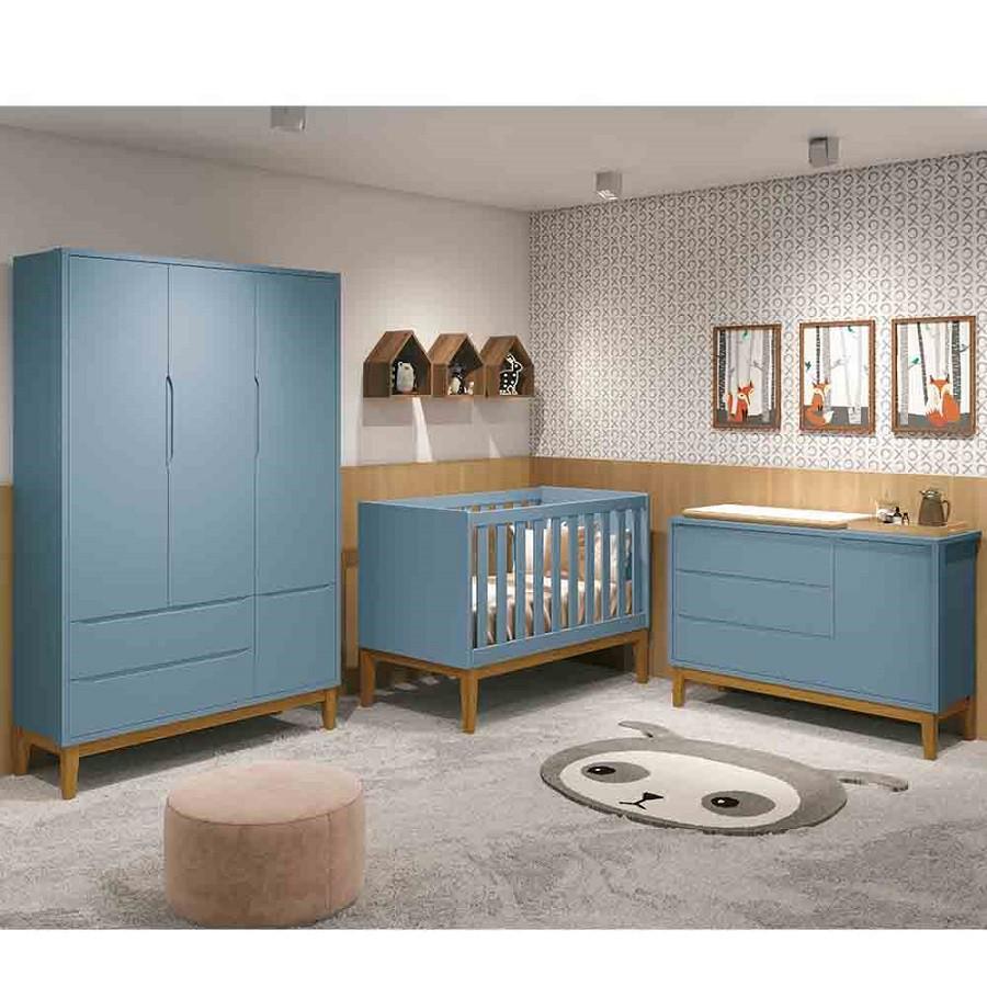 Dormitório Infantil Completo Com Guarda Roupa 3 Portas, Cômoda e Berço Padrão Americano Classic Azul - Reller Móveis