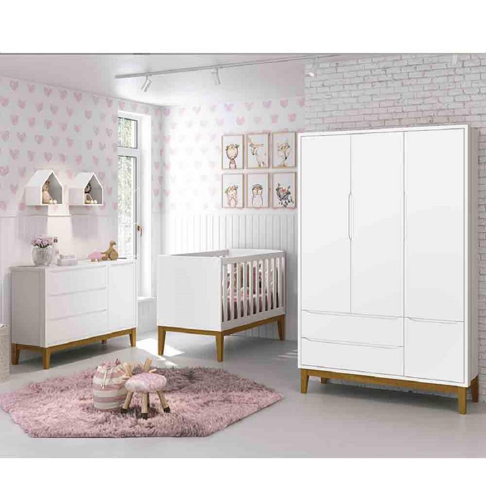 Dormitório Infantil Completo Com Guarda Roupa 3 Portas, Cômoda e Berço Padrão Americano Classic Branco Fosoc - Reller Móveis