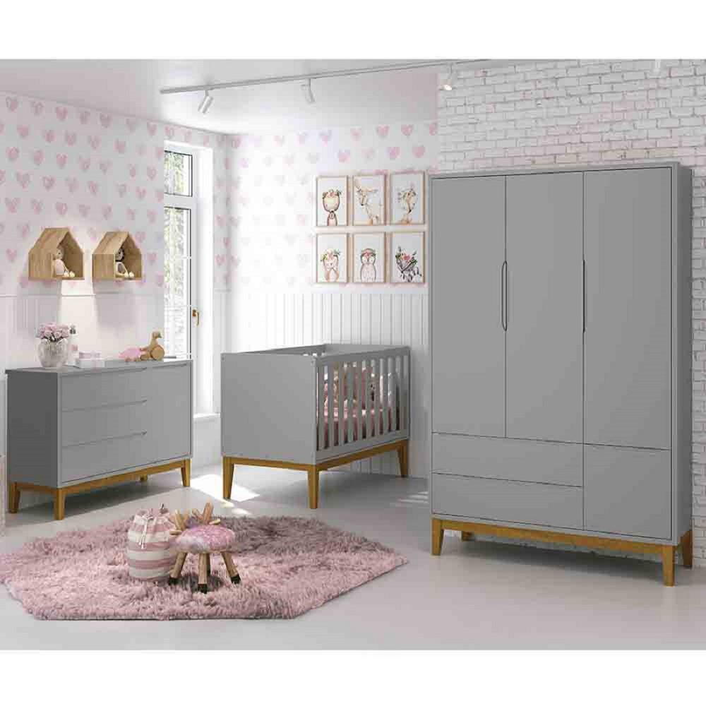 Dormitório Infantil Completo Com Guarda Roupa 3 Portas, Cômoda e Berço Padrão Americano Classic Cinza Fosco - Reller Móveis
