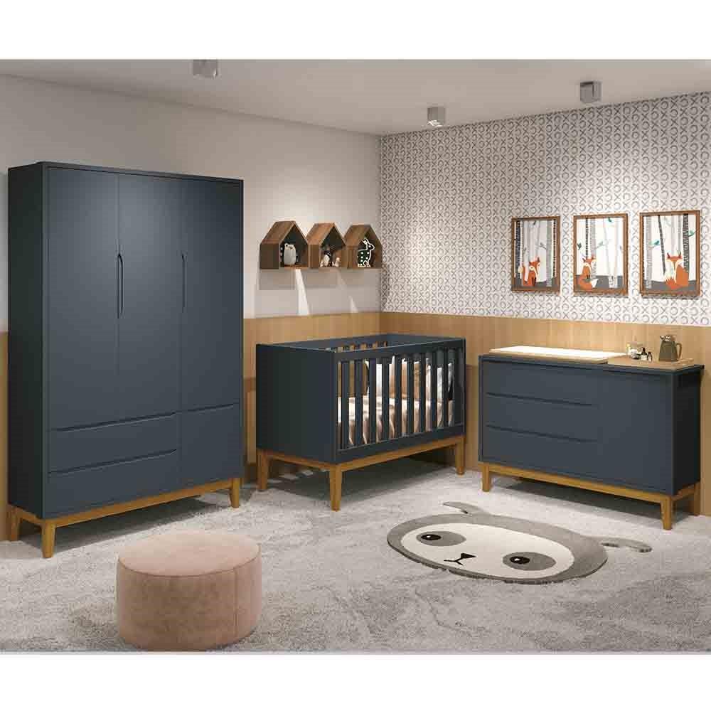 Dormitório Infantil Completo Com Guarda Roupa 3 Portas, Cômoda e Berço Padrão Americano Classic Grafite Fosco- Reller Móveis