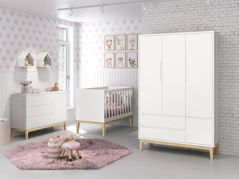 Dormitório Infantil Completo Com Guarda Roupa 3 Portas, Cômoda e Berço Padrão Americano Pés Madeira Natural Classic  Branco Fosco - Reller Móveis