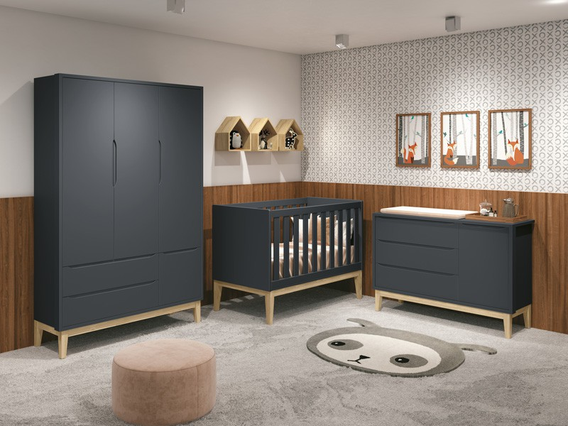 Dormitório Infantil Completo Com Guarda Roupa 3 Portas, Cômoda e Berço Padrão Americano Pés Madeira Natural Classic Grafite Fosco - Reller Móveis