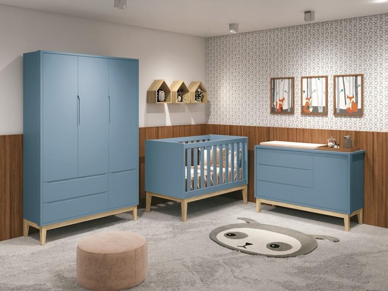 Dormitório Infantil Completo Com Guarda Roupa 3 Portas, Cômoda e Berço Padrão Americano Pés Madeira Natural Classic Azul - Reller Móveis