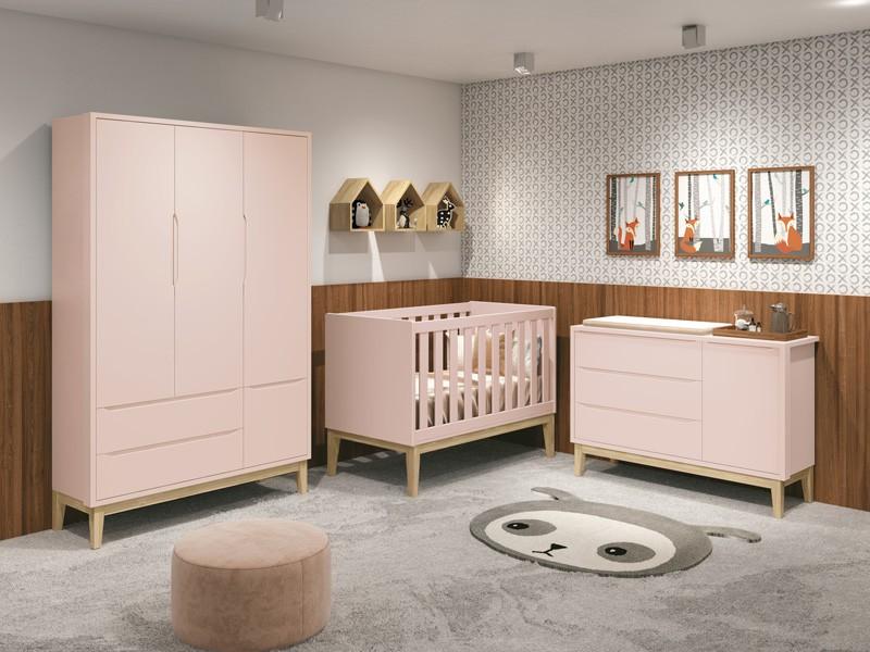 Dormitório Infantil Completo Com Guarda Roupa 3 Portas, Cômoda e Berço Padrão Americano Pés Madeira Natural Classic Rosa Fosco - Reller Móveis
