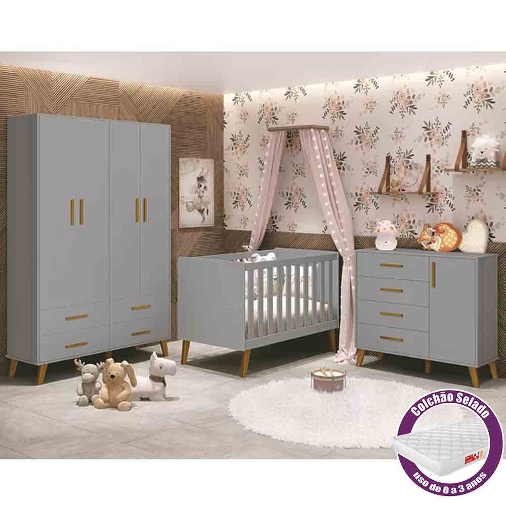 Dormitório Infantil completo com Guarda Roupa, Berço Com Colchão e Cômoda Retrô Ayla Cinza Fosco - Reller Móveis