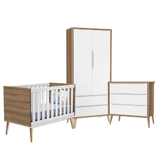 Dormitório Infantil  com Guarda Roupa, Berço e Cômoda Retrô Pés Natural Théo Branco/Mezzo  - Reller