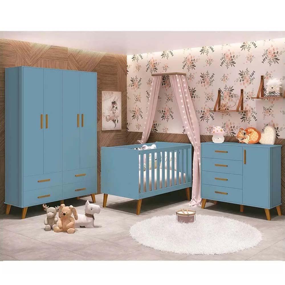 Dormitório Infantil completo com Guarda Roupa, Berço e Cômoda Retrô Ayla Azul Fosco - Reller Móveis