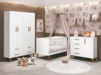 Quarto Infantil com Guarda Roupa, Berço e Cômoda Retrô Ayla Branco Fosco - Reller Móveis