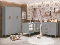 Dormitório de Bebê com Guarda Roupa, Berço e Cômoda Retrô Ayla Cinza Fosco - Reller Móveis