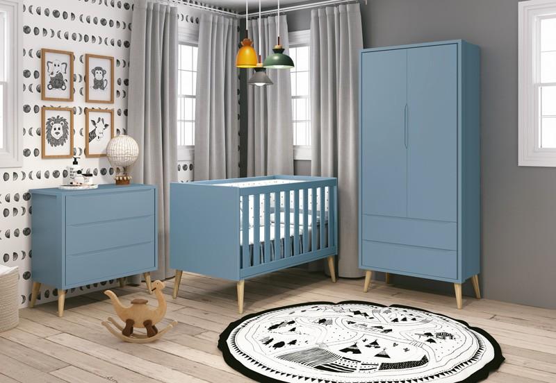 Dormitório Infantil Completo com Guarda Roupa, Berço e Cômoda Retrô Pés Madeira Natural Théo Azul  Fosco  - Reller Móveis