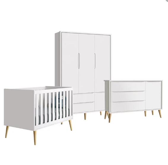 Dormitório Infantil Completo com Guarda Roupa, Berço e Cômoda Retrô Pés Madeira Natural Théo Branco Fosco  - Reller Móveis