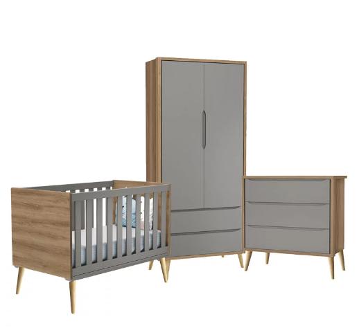Dormitório Infantil Completo com Guarda Roupa, Berço e Cômoda Retrô Pés Madeira Natural Théo Cinza e Mezzo Fosco  - Reller Móveis