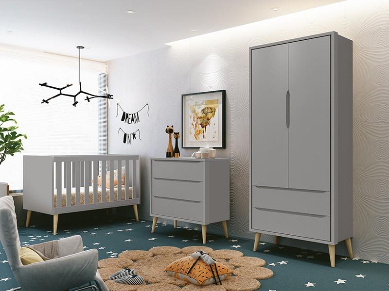 Dormitório Infantil Completo com Guarda Roupa, Berço e Cômoda Retrô Pés Madeira Natural Théo Cinza Fosco  - Reller Móveis