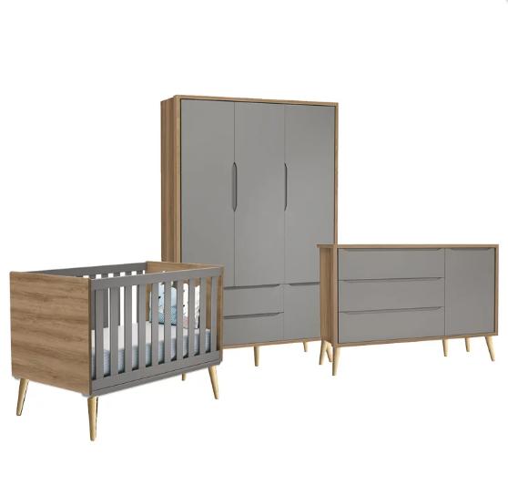 Dormitório Infantil com Guarda Roupa, Berço e Cômoda Retrô Pés Madeira Natural Théo Cinza Mezzo - Reller