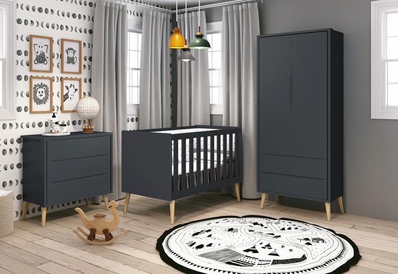 Dormitório Infantil Completo com Guarda Roupa, Berço e Cômoda Retrô Pés Madeira Natural Théo Grafite  Fosco  - Reller Móveis