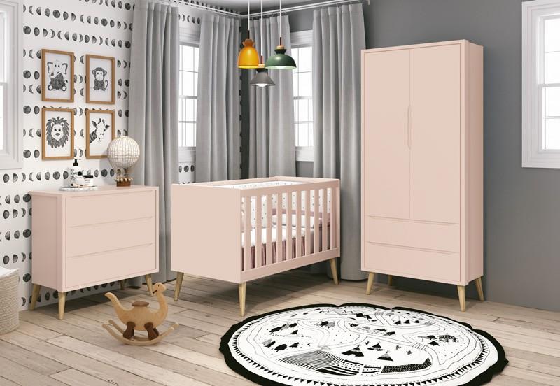 Dormitório Infantil Completo com Guarda Roupa, Berço e Cômoda Retrô Pés Madeira Natural Théo Rosa Fosco  - Reller Móveis