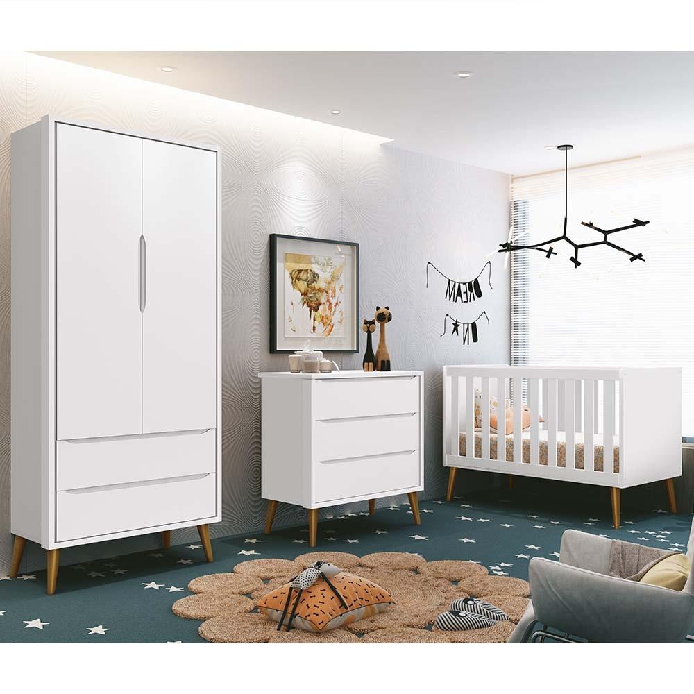 Dormitório Infantil Completo com Guarda Roupa 2 Portas, Berço e Cômoda Retrô Théo Branco Fosco - Reller Móveis