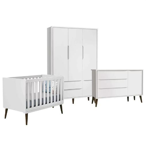 Dormitório Infantil Completo com Guarda Roupa, Berço e Cômoda Retrô Théo Branco Fosco  - Reller Móveis