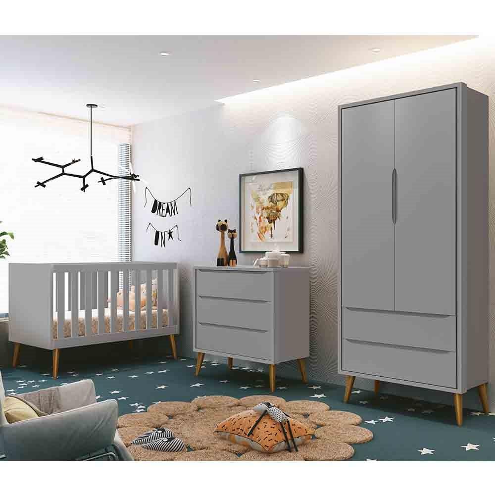 Dormitório Infantil Completo com Guarda Roupa, Berço e Cômoda Retrô Théo Cinza Fosco - Reller Móveis