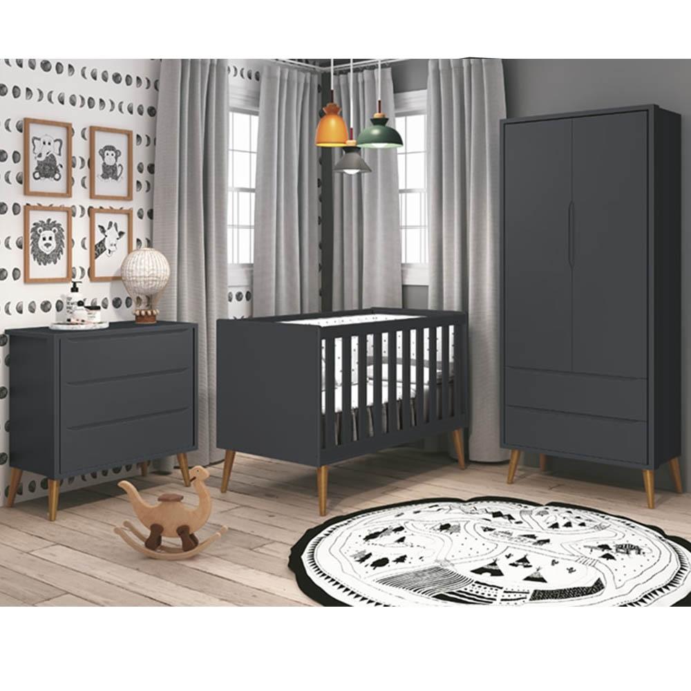 Dormitório Infantil Completo com Guarda Roupa, Berço e Cômoda Retrô Théo Grafite Fosco - Reller Móveis