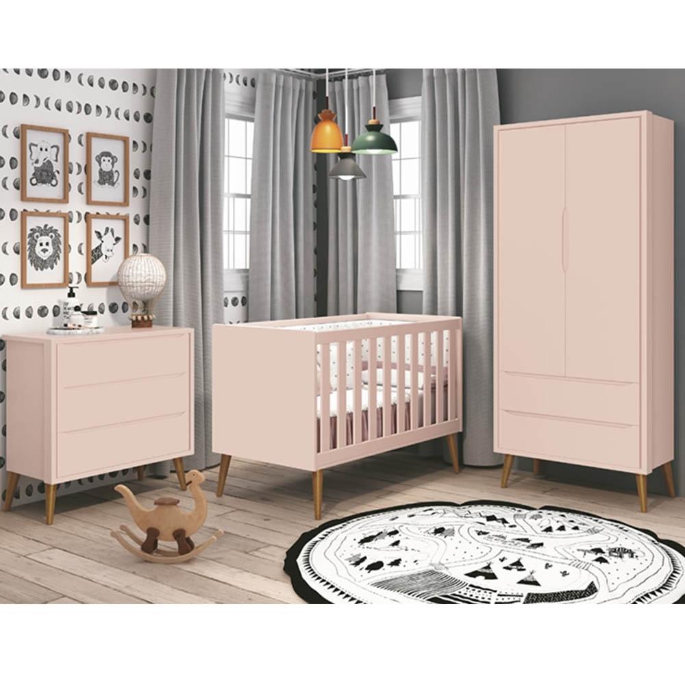 Dormitório Infantil Completo com Guarda Roupa, Berço e Cômoda Retrô Théo Rosa Fosco  - Reller Móveis