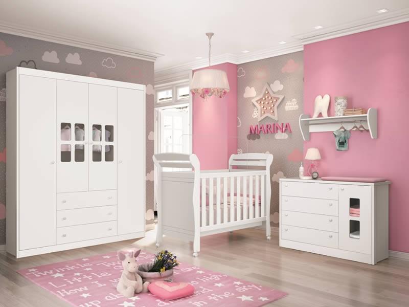 Dormitório Infantil completo com Guarda Roupa Nina, Berço Sophia  e Cômoda Joãozinho Branco Brilhoso - Reller Móveis