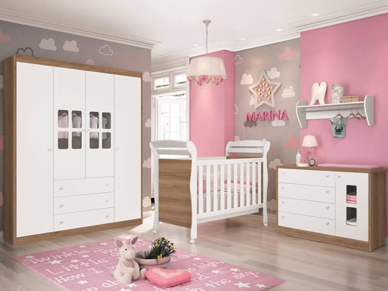 Dormitório Infantil completo com Guarda Roupa Nina, Berço Sophia  e Cômoda Joãozinho Branco Fosco Mezzo - Reller Móveis