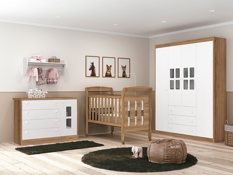 Dormitório Infantil completo com Guarda Roupa Nina, Berço Sophia  e Cômoda Joãozinho Branco Mezzo Fosco  - Reller Móveis