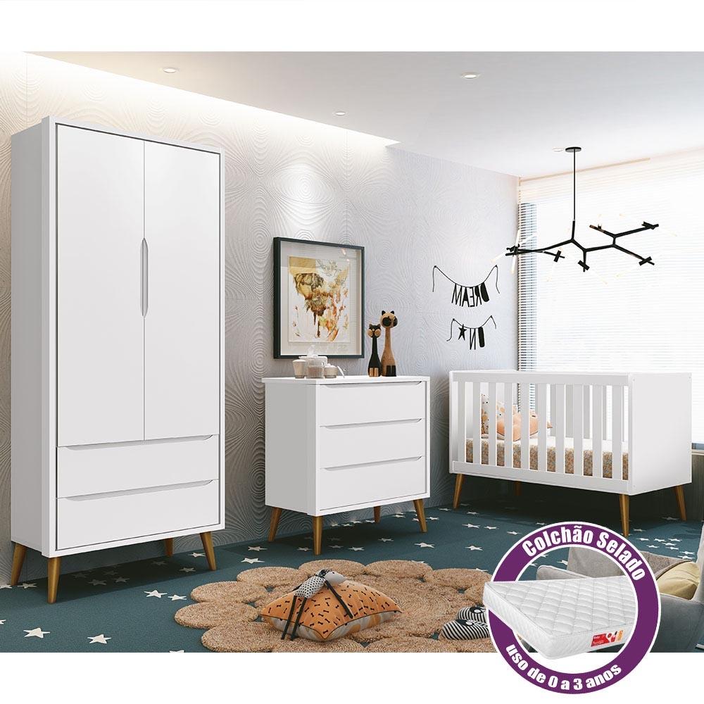 Dormitório Infantil Retrô Théo com Guarda Roupa 2 Portas, Berço, Cômoda e Colchão - Reller Móveis