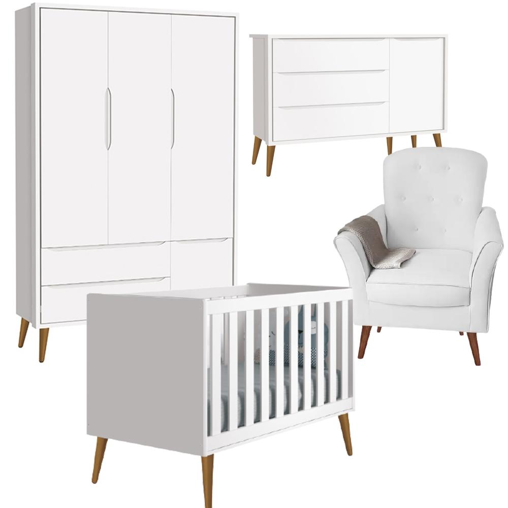 Dormitório Infantil Retro Théo Guarda Roupa 3 Portas, Berço, Cômoda Sapateira e Poltrona de Amamentação - Reller