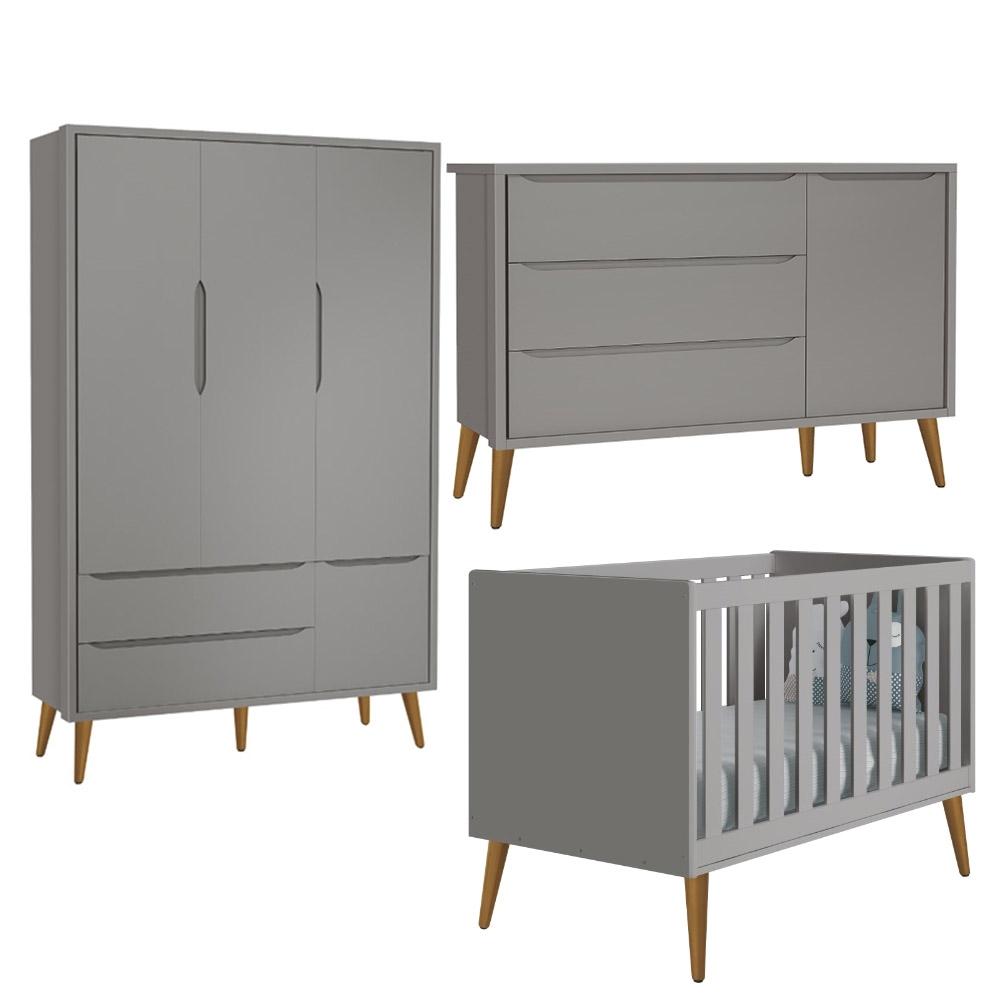 Dormitório Infantil Theo Retro com Guarda Roupa 3 Portas + Berço + Cômoda Sapateira + Mesinha - Reller